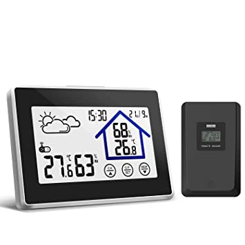 Yuanguo Estación Meteorológica Inalámbrica Sensor Inalámbrico para Interior/ Exterior, Termómetro Higrometro con Pantalla Táctil