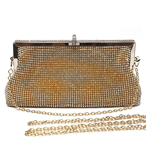 Mlife Women Crystal Clutch Evening Bag with Two Removable Chain Strap - Beaded Bag Gold
