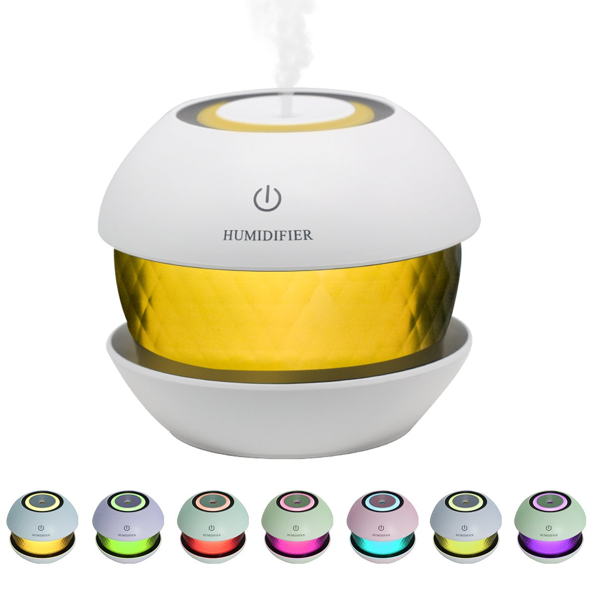 SUPTEMPO Ultrasonic Cool Mist Humidifiers Diffuser Premium Air Humidifier for Car, Office, Bedroom, Spa, Yoga, 150ml Round Spray USB Humidifier with Led Night Light Colorful Change-Black