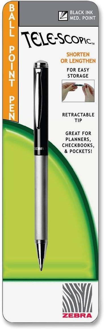 Zebra Ball Tele-Scopic Brights Medium Ball Point Pen Black Ink 1.0 mm Adjustable