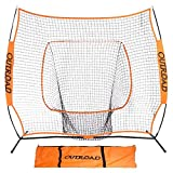 Outroad Baseball Nets Batting and Pitching 7 x 7 - Portable Practice Net Softball net with Bow Frame and Strike Zone Target - Portable and Removable Ball Holder Batting Practice with Carry Bag