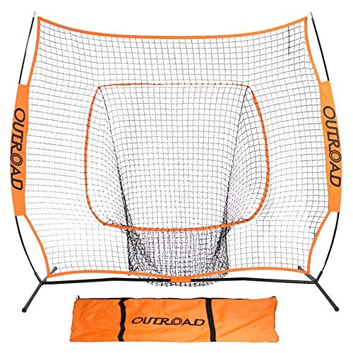 Outroad Baseball Nets Batting and Pitching 7 x 7 - Portable Practice Net Softball net with Bow Frame and Strike Zone Target - Portable and Removable Ball Holder Batting Practice with Carry Bag (Top 10 Home Run Hitters Of All Time)