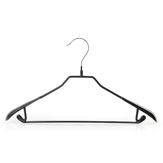 Hangerworld 10 Perchas 43cm Metal con Revestimiento Antideslizante Negro Barra Pantalón Traje