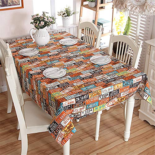 XINRJY Cotton Tablecloth Retro License Plate Number Personalized Party Table Cloth B 60X60cm