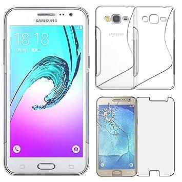 ebestStar - Compatible Funda Samsung J3 2016 Galaxy SM-J320F Carcasa Silicona Gel TPU Motivo Slínea, S-Line Case Cover, Transparente + Cristal ...