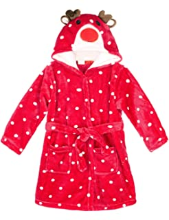 Hamour Unisex Kids Coral Fleece Hooded Bathrobe Girls Pajamas Sleepwear  Robes c8ae2d1d8