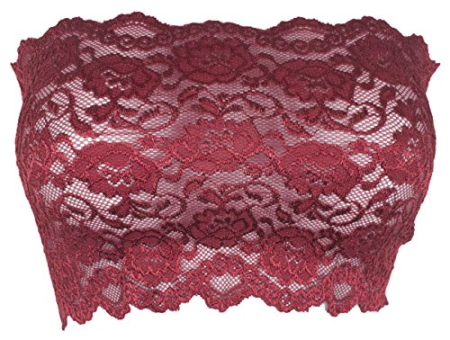 Ally Rose Topper Stretch Lace Camisole Bandeau Tube Top 8 Inches Long Scarlet M