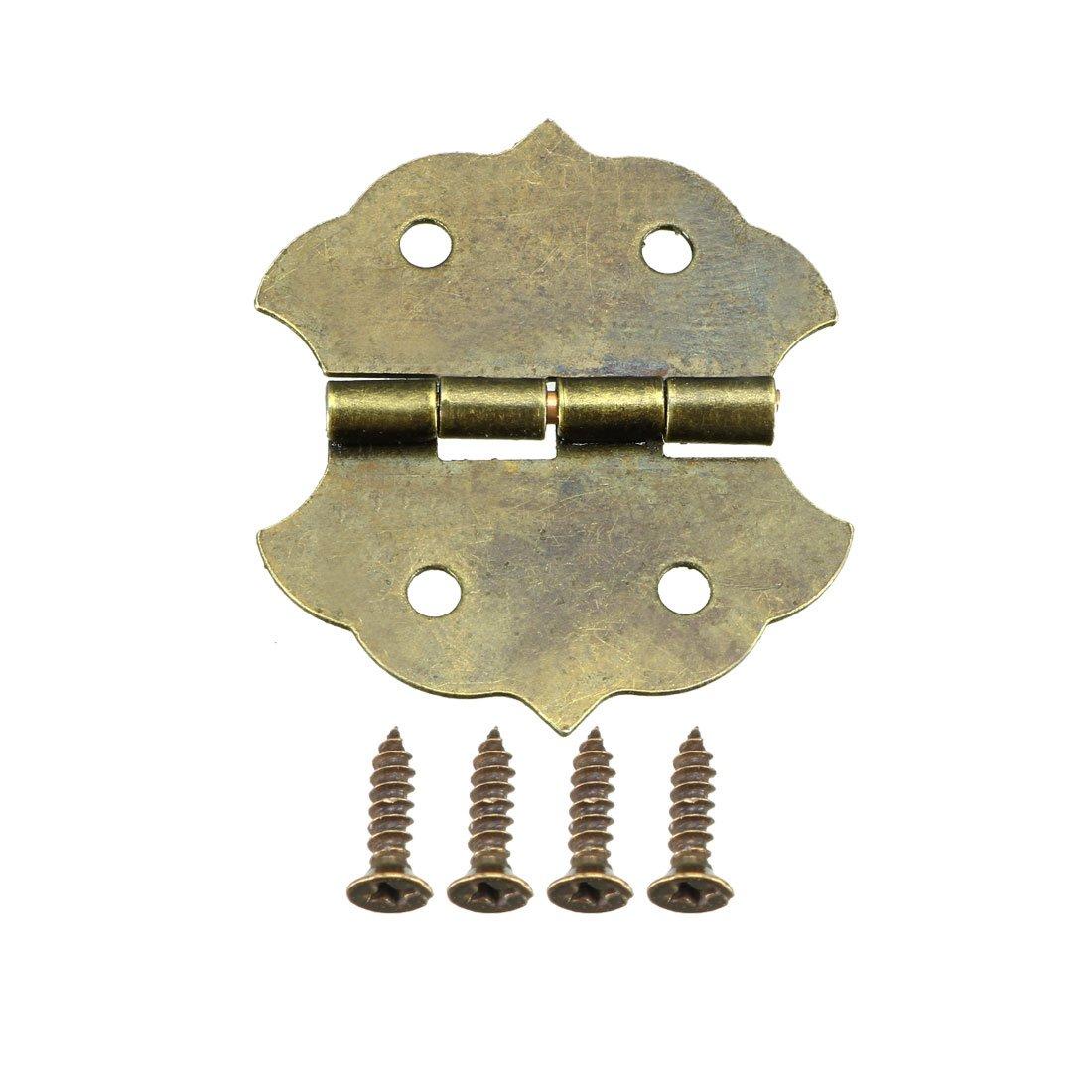 sourcing map 20 Stk Bronze Ton Sto/ßscharniere Vintage Mini Scharnier mit Schrauben 1,18 DE de