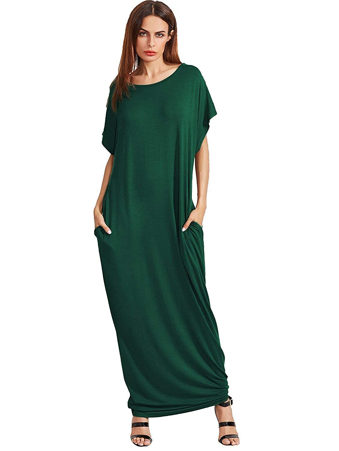 1 Dark Green Verdusa Women's Casual Short Sleeve Loose Pocket Plain Shift Long Maxi Dress