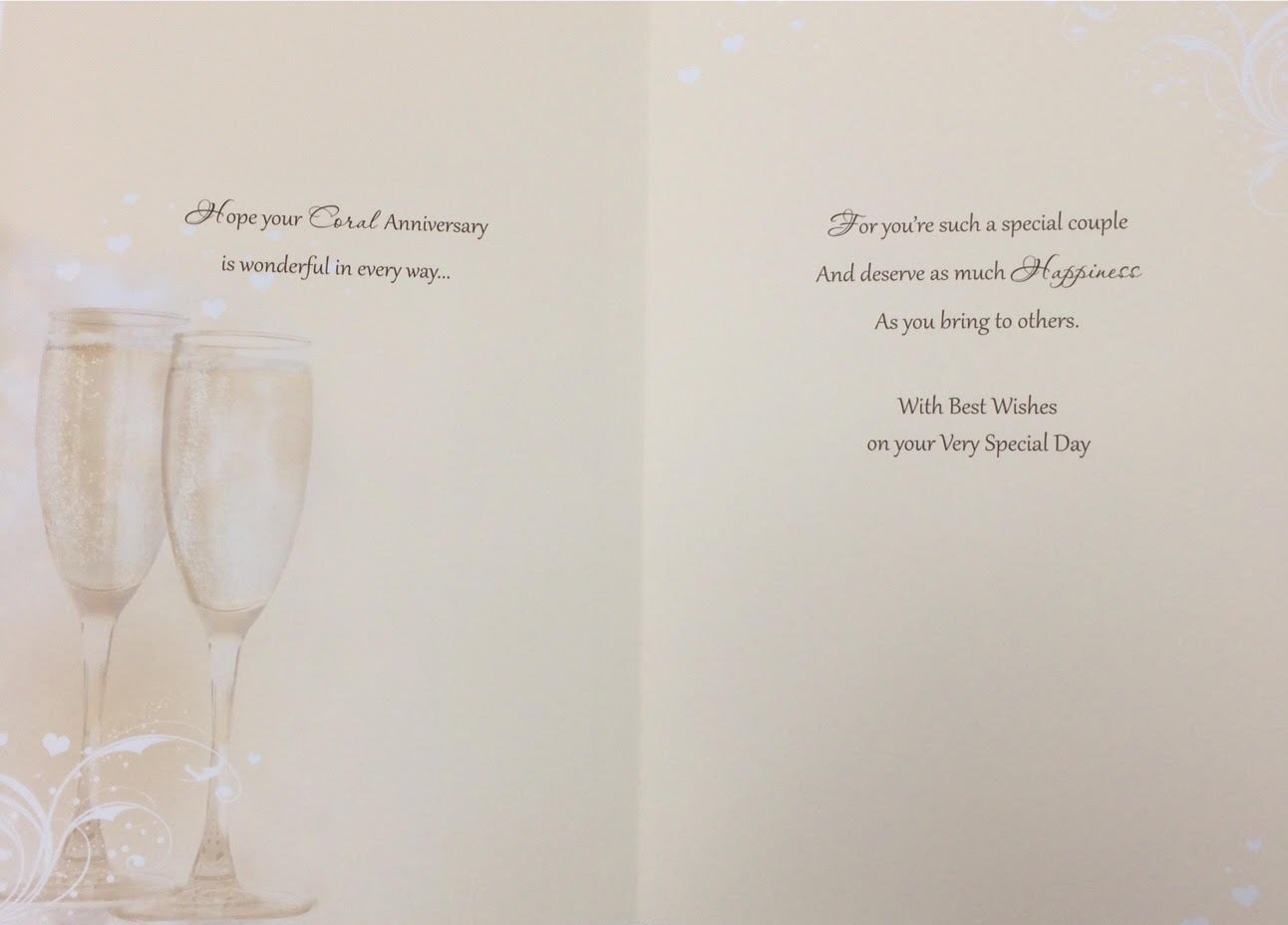 On Your Coral 35th Anniversary Card ~ With Best Wishes on your Very Special Day