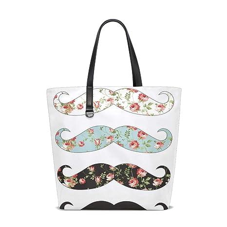 Amazon.com   Moustache Flower Tote Bag Purse Handbag Womens ...