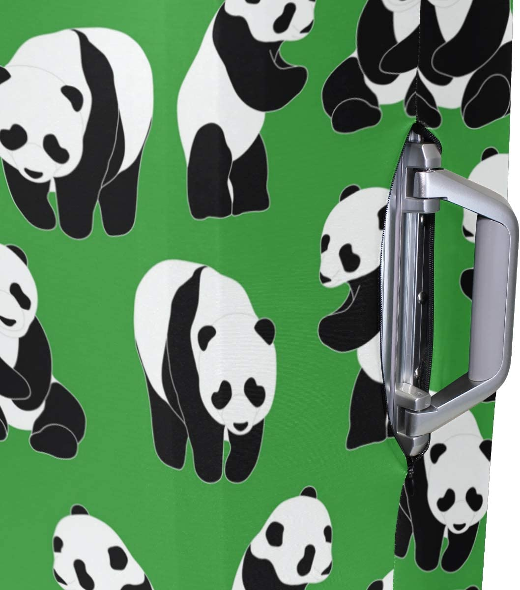 Baggage Covers Chinese Panda Pattern Green Background Washable Protective Case