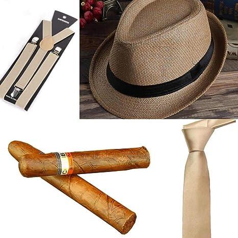 Al Capone Mafia Gangster cappello + cravatta + bretelle + sigaro - 20s  Costume Set per 281b3a3986cc