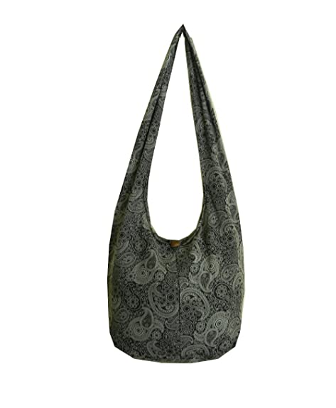 Thai Cotton Hippie Hobo Sling Crossbody Bag Messenger Purse Paisley Print  Large (Black PL3)  Shoes 1421a89e520c2