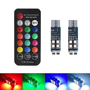 XINFOK T10 W5W 10 LED RGB LED Bombillas LED Coche Interior Luces de Aclaramiento T10 Bombilla