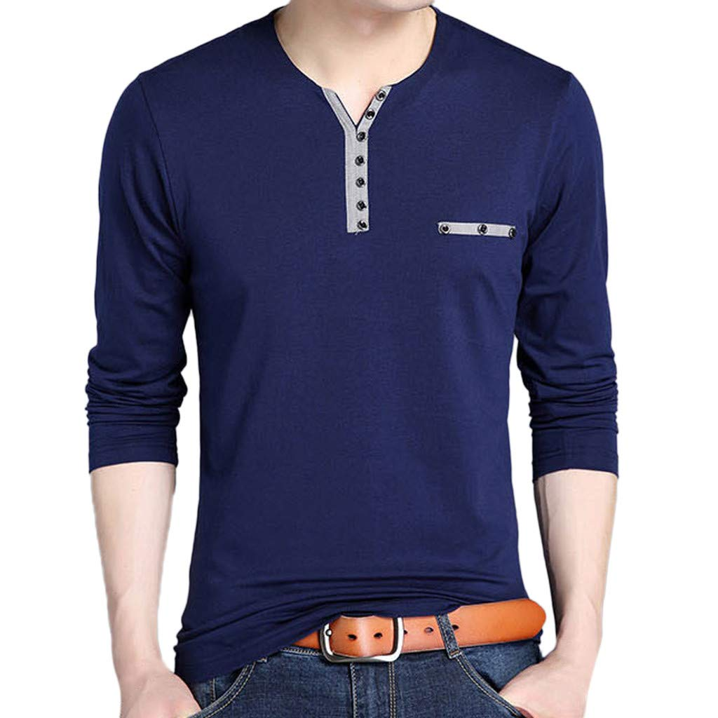 wuliLINL Mens Spring Casual Fashion Solid Lapel Long Sleeved Button T-Shirt Tops Blouse