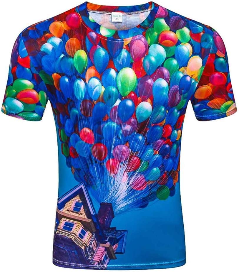 DONGXIN Camiseta Azul Cielo Gas impresión en 3D Camisa de Manga Corta para Hombre Manga Corta, tamaño Mediano, Camiseta Grande: Amazon.es: Deportes y aire libre