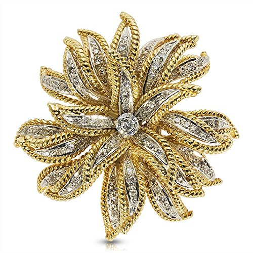 - Vintage Diamond Flower Pin in 14K Yellow Gold (0.72 CTW)