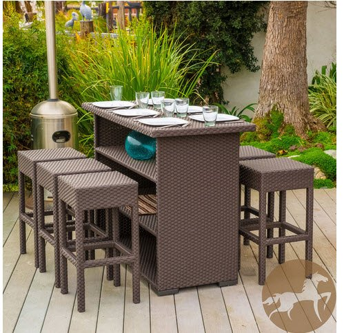 7 Piece Wicker Material Outdoor Patio Living Furniture Includes 6 Backless Armless Barstool and 1 Bar Table Features Storage Shelving in Brown Finish for Your Backyard Patio Deck Garden Poolside or Yard - The 7-piece Outdoor Patio Bar Set Will Help to Bring Both Style and Convenience to Your Outdoor Space. This Set Is Made of Wicker Material and Includes Six (6) Backless Stools and One (1) Bar Table. The Table Also Features a Convenient Storage Shelf for Your Entertaining Needs. This Brown Finish Is a Neutral Color That Will Be Able to Match Any Outdoor Furniture. It Will Also Hold up in Any Weather Condition with Little Maintenance. Whether in Your Backyard, Patio, or Deck, You Will Enjoy This Bar Set for Years to Come.