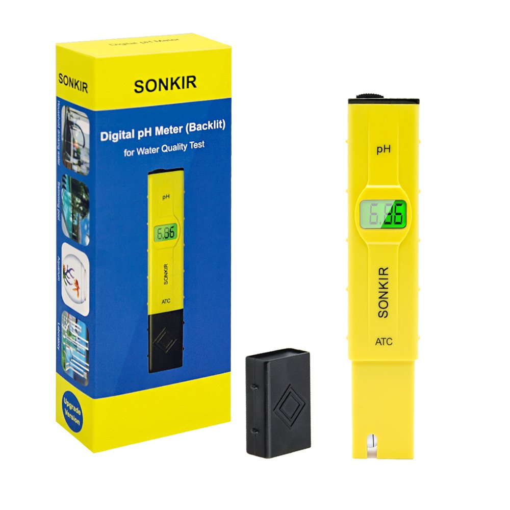 pH Meter, Sonkir Advanced Digital pH Tester for Water Quality Test, ATC Function, 0.01 Resolution Backlit LCD Display (Yellow)