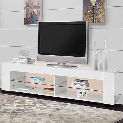 Mueble de Salon Alto Brillo Mesas para TV Mesa Television Moderno con 16 Colores de Luz LED con Estante de Vidrio para Sala de Estar y Dormitorio, Blanco, 134 × 39 × 29 cm: Amazon.es: Electrónica