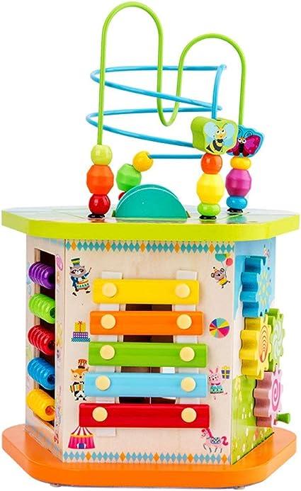 Baby-Aktivit/ätsw/ürfel-Spielzeug 6-in-1 Mehrzweck-Spielcenter zur fr/ühen Entwicklung p/ädagogisches Spielzeug mit Musik Formen Farbsortierer Perlen Labyrinth-Spielzeug tolles Geschenk f/ür Jungen