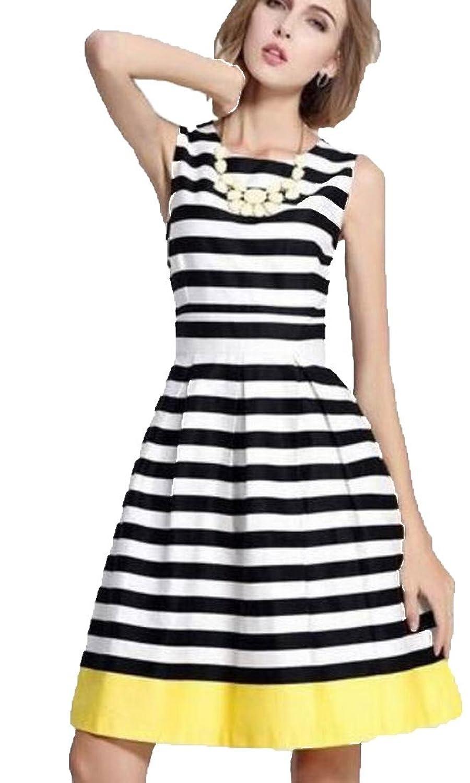 XTX Women's Slim Stripes Accept Waist Sleeveless A-line Dress