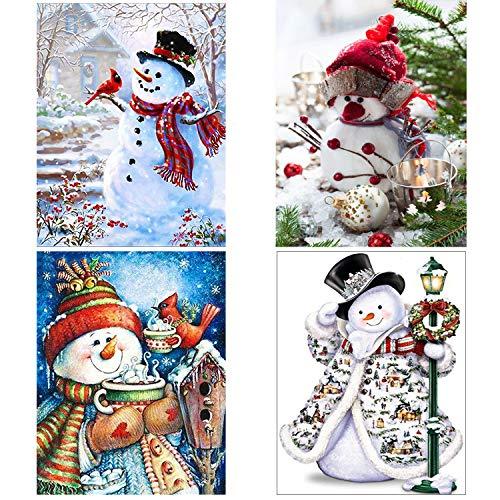 SanerDirect 4 Pack 5d DIY Snowman Diamond Painting Kits, Full Drill Paint with Diamonds Christmas Kits 12x16 inches