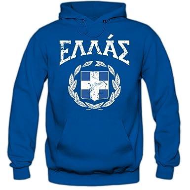 Shirt Happenz Greece Emblem Hoody   Greece   Republic Of Greece   Athen    Blue White 6f65a892f7