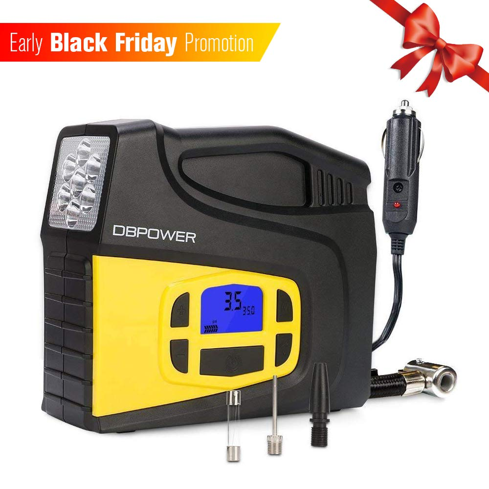 DBPOWER Portable 12V DC Tire Inflator, Digital LCD Display Air Compressor Pump for Cars, Bicycles and Balls with 3 Modes Function LED Lighting