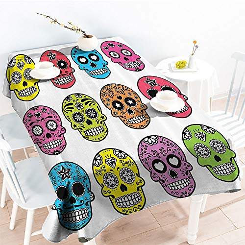 Jinguizi Rectangular Table Covers Ornate Colorful Traditional Mexian Halloween Skull Icons Dead Humor Folk Art Printindoor Outdoor TableclothMulti(54 by 90 Inch Oblong Rectangular)