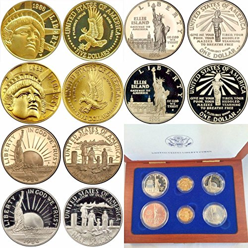1986 1986 Set 6 Gold Silver Coins Statue of Liberty $5 Good