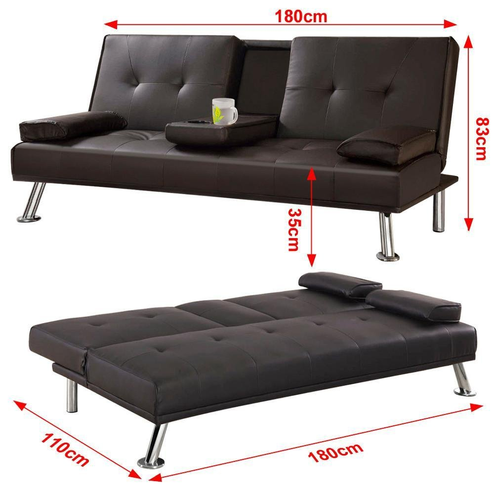 Surprising Yaheetech 3 Seater Faux Leather Sofa Bed Sofabed With Cup Holders Brown Uwap Interior Chair Design Uwaporg