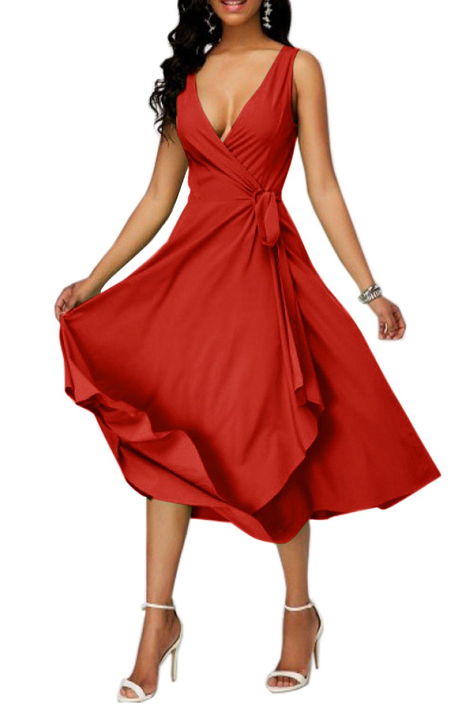 Makkrom Womens Sexy Sleeveless Wrap Maxi Dresses Deep V Neck Evening Party Night Casual Dress