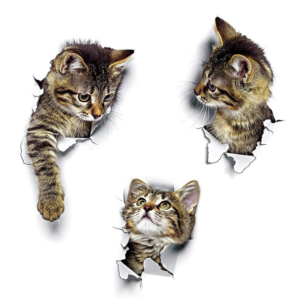 Wandsticker Wandaufkleber 3D Katzen Wandtattoo Kombination WC-Aufkleber Wasserdichte Kü hlschrankaufkleber Tü raufkleber Kü che Wand Dekor DUOUPA