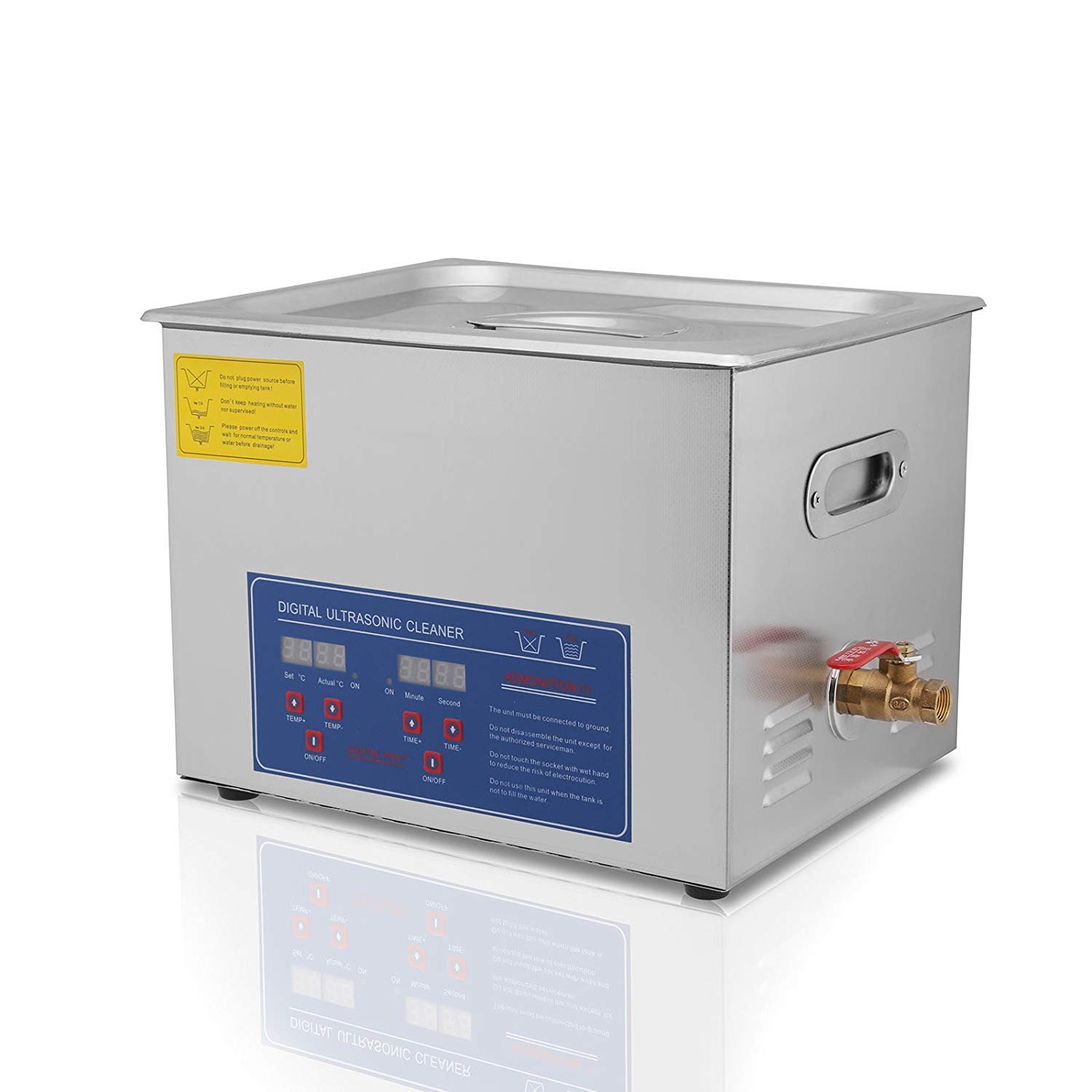Commercial Ultrasonic Cleaner 15L with Heater and Timer Great for Gun,Bike,Motocycle,Auto pars Cleaning C8O