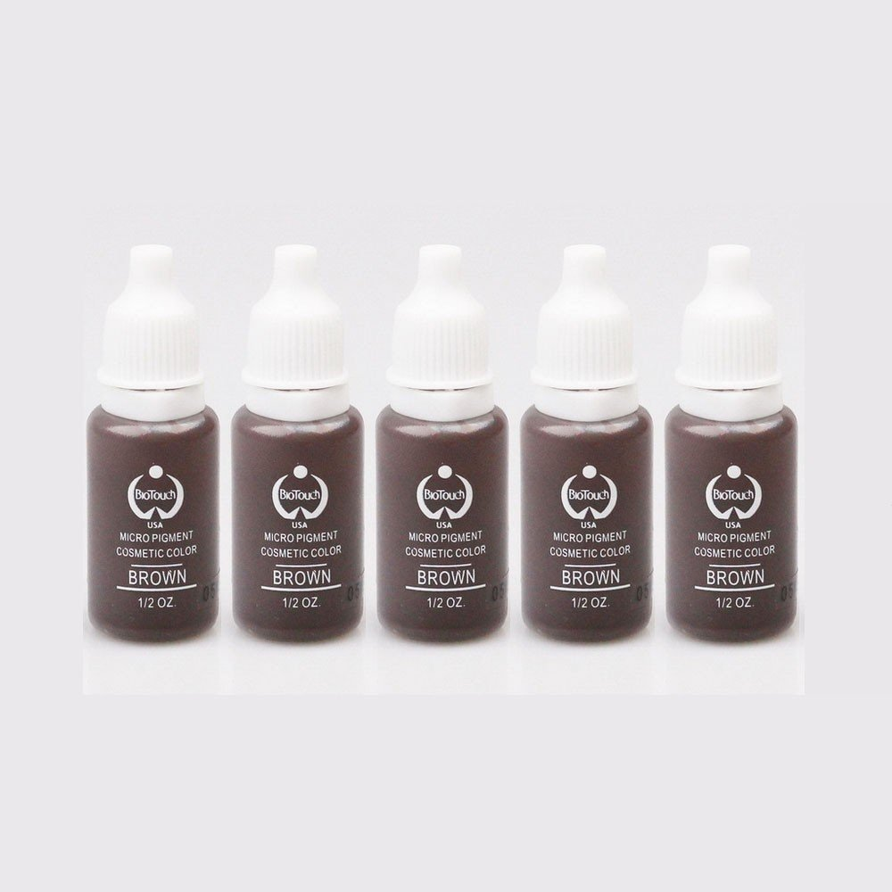 5 pcs tattoo ink set Permanent makeup pigment 15ml 1 / 2oz Cosmetic eyebrow eyeliner tattoo paint brown back color AISIMA