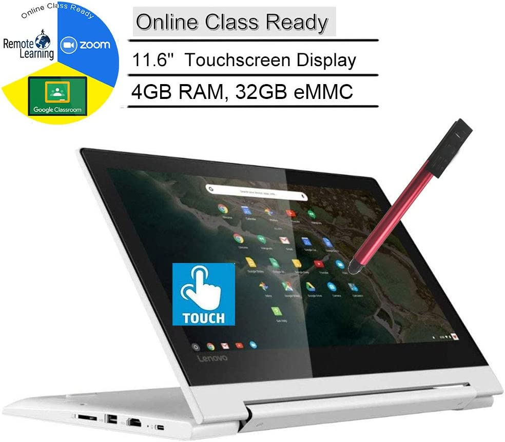 "Lenovo Chromebook C330 2-in-1 11.6"" Convertible Touchscreen Laptop Computer, Quad-Core MediaTek MT8173C, 4GB RAM, 32GB eMMC, Online Class Ready, White, Chrome OS, BROAGE 3-in-1 Stylus 8GB Flash Drive"