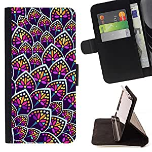 For LG G3 Case , Flor de neón colorido patrón uniforme- la tarjeta de Crédito Slots PU Funda de cuero Monedero caso cubierta de piel
