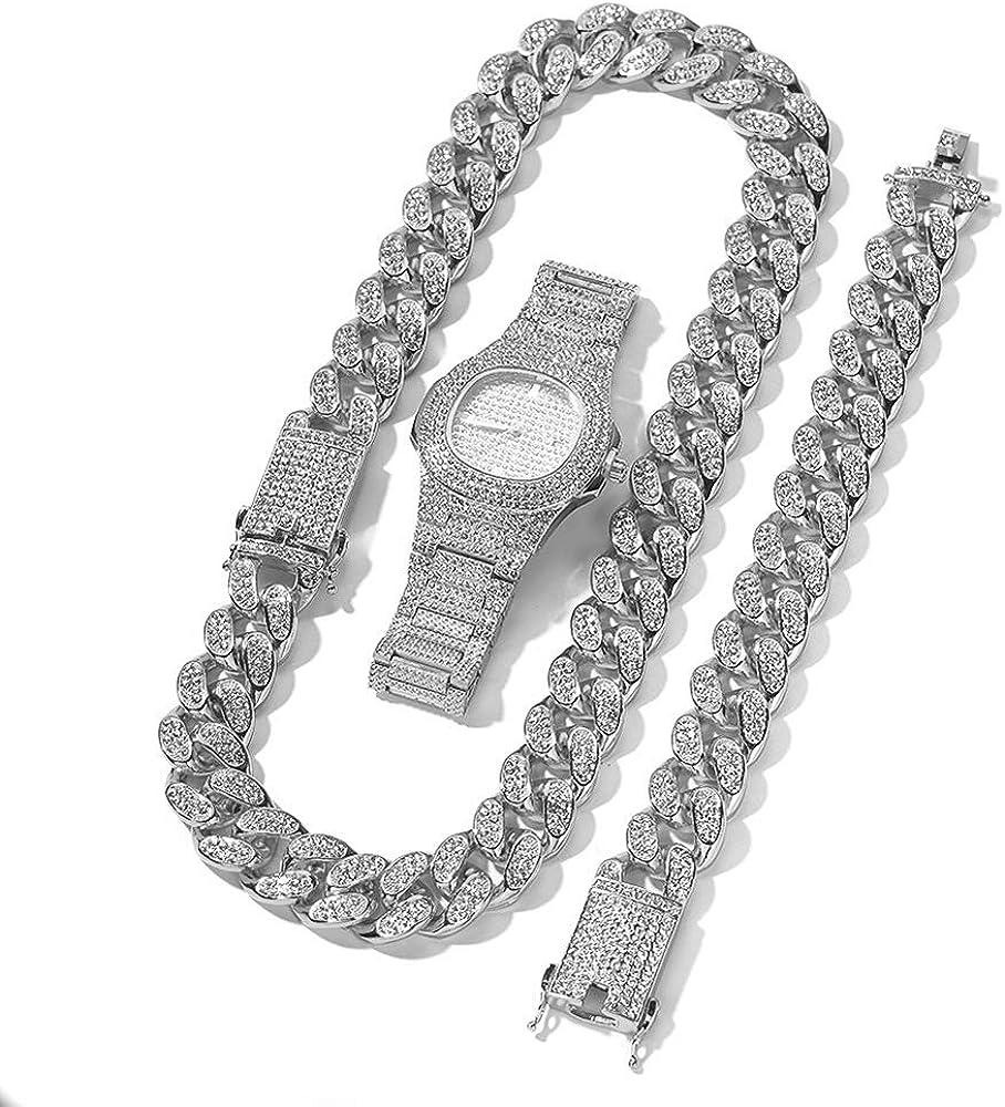 Reloj de Lujo para Hombres Reloj de Moda Hip Hop con Collar de Cadena Cubana Pulsera 3 Piezas Conjunto de Joyas