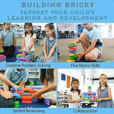 ECR4Kids Big Building Brick Set with Windows and Doors - 140 Piece Value Pack - Stacking Interlocking Blocks for Toddlers and Kids - Child-Safe STEM Sensory Builders for Ages 3+ (140 Pieces): Toys & Games