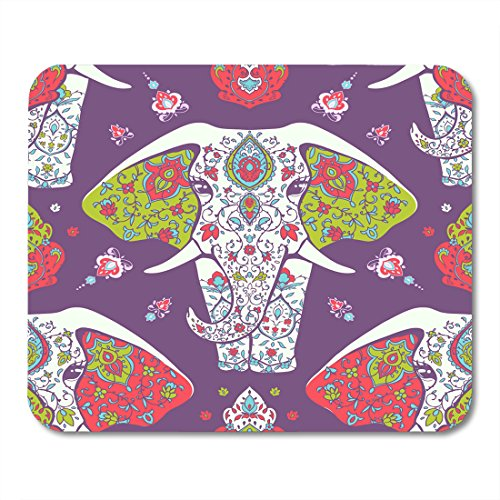 Nakamela Mouse Pads Abstract with Mandala and Elephant Geometric Circle Made in and Sites Kaleidoscope Medallion Yoga India Mouse mats 9.5