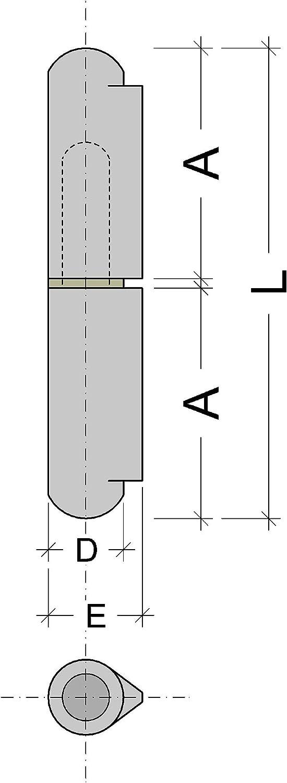 Gond de Fixation Gedotec Charni/ère Paumelle Porte Souder Fen/être Capacit/é Charge 65 kg Meuble en M/étal Portail Longueur 40 mm Charni/ère Acier /à Soudure pour Porte M/étallique Machine