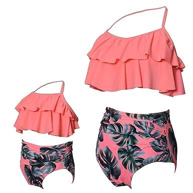 5c3294789f Yooeen Femmes Filles Maillot de Bain 2 Pièces Mère-Fille Mignon Volants  Bikini Set Parent