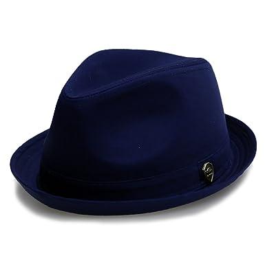 b93a277d5ab Amazon.com  City Hunter Pmt111 Roll up Men Cotton Fedora Hat - Navy ...
