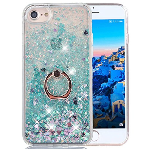 Sparkling Back Cover Case - iPhone 6S Plus Liquid Case Glitter Cover Fashion Luxury Sparkling Liquid Quicksand Soft TPU + Hard PC Back Case 360 Rotating Ring Stand Holder Kickstand for Apple iPhone 6 Plus. Liquid- Love Green