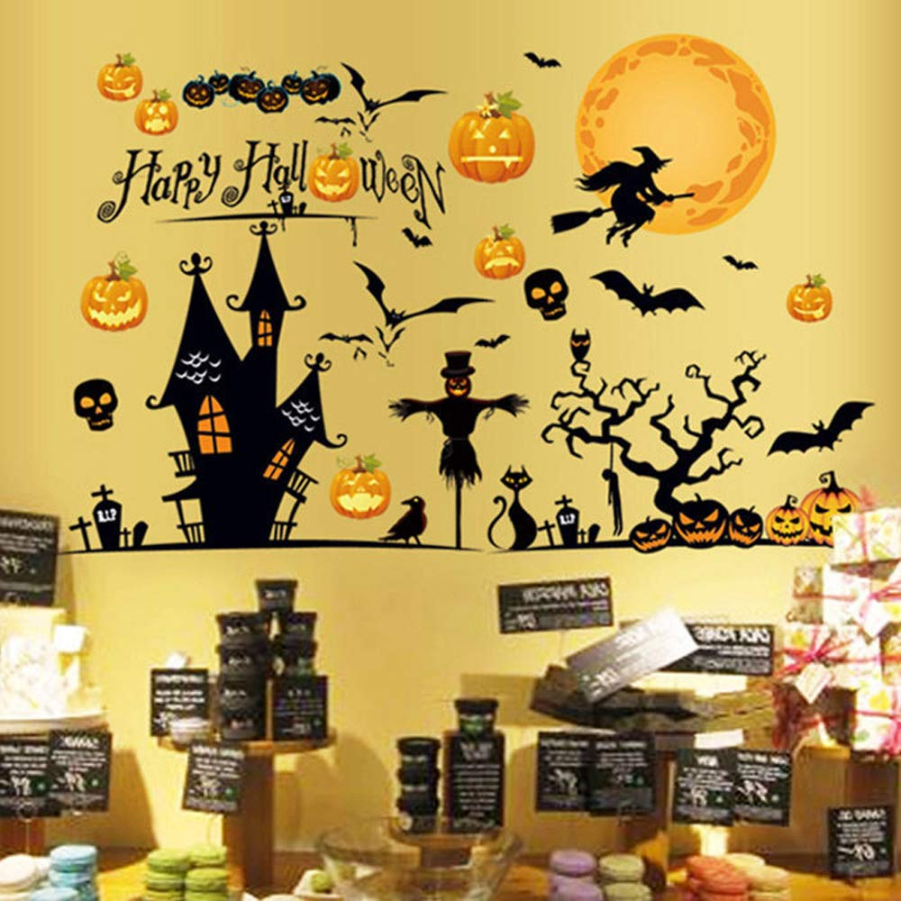 Happy Halloween Removable Wall Sticker Window Art Decoration Vinyl Witch Bats Pumpkin Decals for Home Decor Indoor Outdoor