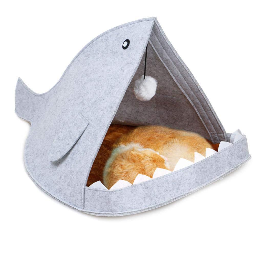 Leegoal Nid d'animal de Compagnie/Chien/Chat/Lapin Ect. de Type Requin en Feutre(Gris)