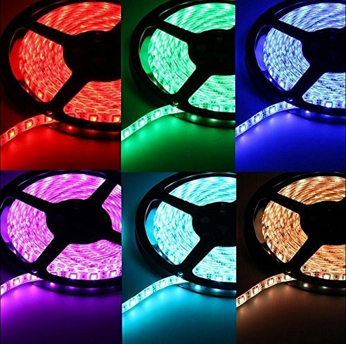 Smd3528 16.4ft 5m 300led Waterproof RGB Color Led Strip Flexible Srips Light with 12v Power Supply and Remote Controller. Life Span: 50,000 Hours - Ideal for Gardens, Homes, Kitchen, Under Cabinet, Aquariums, Cars, Bar, DIY Party Decoration Lighting (strip with 44 keys remote controller)
