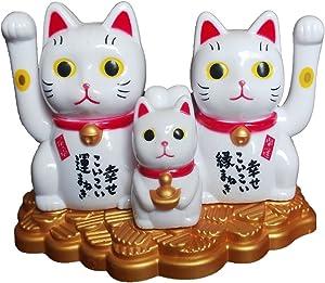QOCOO Office Home Car Feng Shui Decor Ornament Statue Sculpture Japanese Maneki Neko Solar Lucky Cat Waving Arm Decorative Figurine, Cute Toy or Gift for Attract Wealth Business Luck Money